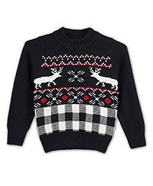 Liliput Kids Full Sleeves Majestic Moose Assorted Pattern Sweater - Raven Blue