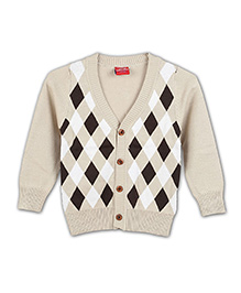 Liliput Kids Full Sleeves Classic Check Knit Cardigan - Cloud White