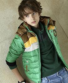 Liliput Kids Hooded Full Sleeves Padded Jacket - Glossy Green
