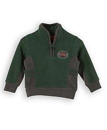 Lilliput Kids Full Sleeves Sweatshirt - Moss Green And Grey