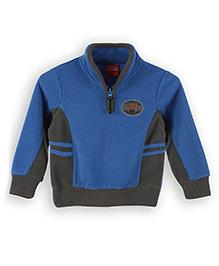 Lilliput Kids Full Sleeves Sweatshirt - Blue And Grey
