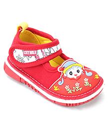 Cute Walk Casual Shoes Face Motif - Red