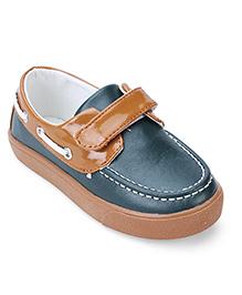 Cute Walk Velcro Closure Loafers - Dark Green & Brown
