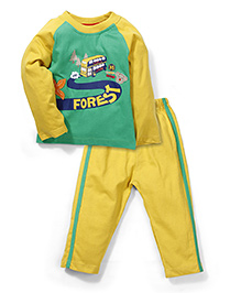 Paaple Full Sleeves T Shirt And Bottom Set - Yellow And Green