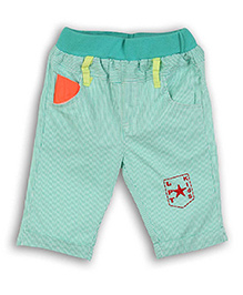 Lilliput Kids Striped Capri Logo Print - Green