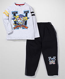 Teddy Full Sleeves Printed T-Shirt And Pajamas - White And Black
