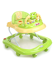 Musical Baby Walker With Play Tray - Green & Light Yellow