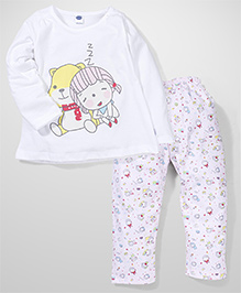 Teddy Full Sleeves Nightwear Top And Pajamas Little Girl And Teddy Print - White