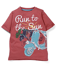 Mothercare Half Sleeves T-Shirt Sun And Scooter Print - Coral