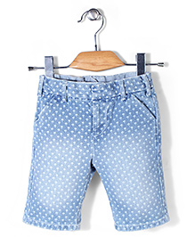 Mothercare All Over Tree Print Denim Shorts - Blue