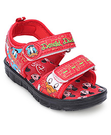Disney Donald Duck Print Sandals With Dual Velcro Closure - Red