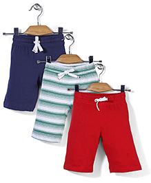 Mothercare Jersey Shorts Pack Of 3 - Red Navy Green
