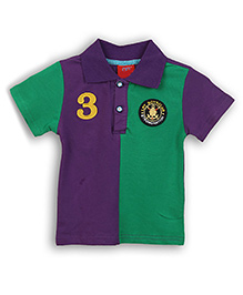 Lilliput Kids Colour Block Polo T-Shirt Number 3 Applique - Purple And Green