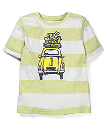 Mothercare Half Sleeves Car Print Striped T-Shirt - Light Green