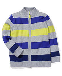 Mothercare Full Sleeves Striped Jacket - Grey And Blue
