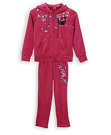 Lilliput Kids Premium Hooded Jacket And Track Pants - Pink