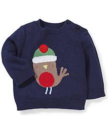 Mothercare Full Sleeves Sweater Birdie - Navy Blue