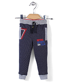 X N Sports Dotted Track Pants With Drawstring - Navy