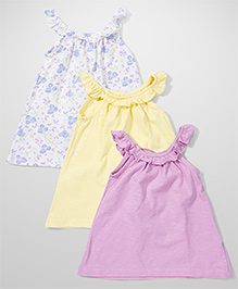 Mothercare Sleeveless Top Pack Of 3 - White Yellow Pink