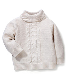 Mothercare Full Sleeves Cable Knit Sweater - White