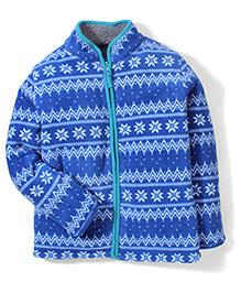 Mothercare Full Sleeves Fairisle Borg Lined Fleece Jacket - Blue