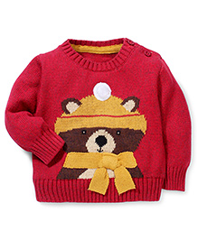 Mothercare Full Sleeves Teddy Knitted Sweater - Maroon