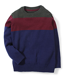 Mothercare Full Sleeves Color Block Sweater - Navy & Maroon