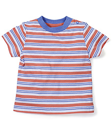 Mothercare Contrast Neckline Striped T-Shirt - Multicolor