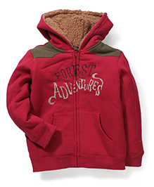 Mothercare Hooded Front Zip Closure Jacket - Red