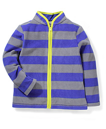 Mothercare Full Sleeves Zippered Jacket - Grey And Royal Blue