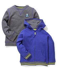 Mothercare Full Sleeves Sweatshirt Pack Of 2 - Blue & Grey