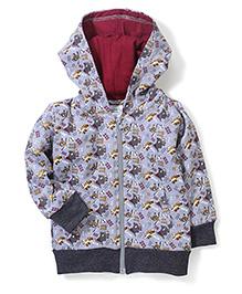 Babyhug Hooded Sweat Jacket Ship Print - Grey