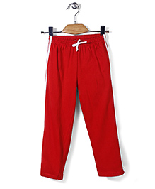 Babyhug Full Length Plain Track Pants - Red