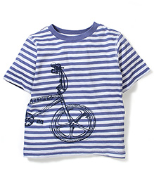 Mothercare Half Sleeves Graphic Print T-Shirt - Blue & White