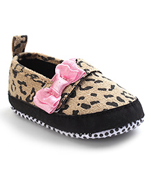 Milonee Leopard Print With Bow Shoes - Pink