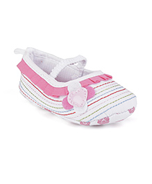 Milonee Flower Frilly Shoes - Pink & White