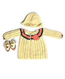The Original Knit Winter Dress Set - Yellow & Pink