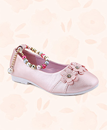Cute Walk Belly Shoes Floral Applique With Pearl Detailing - Light Pink