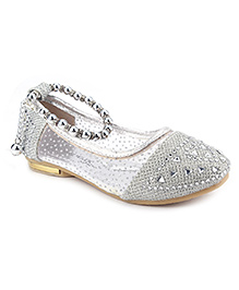 Cute Walk Belly Shoes Pearl Detailing - Silver
