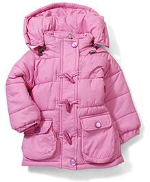 Babyhug Toggle Button Detachable Hooded Jacket - Pink