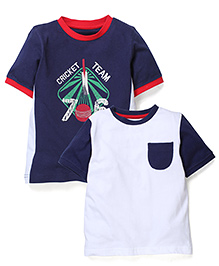 Mothercare Half Sleeves T-Shirt Cricket Team Print Pack Of 2 - Navy And White