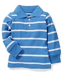 Babyhug Full Sleeves Striped Polo Neck T-Shirt - Sky Blue