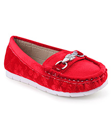 Cute Walk Party Loafer Shoes - Red
