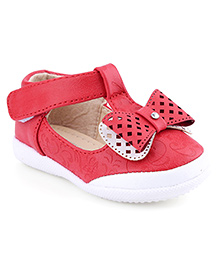 Cute Walk Belly Shoes Bow Applique - Red
