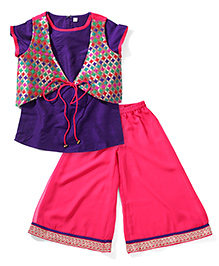 Twisha Kurti Palazzo & Ethnic Jacket Set - Violet & Pink