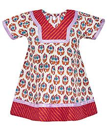 BownBee Short Sleeves Printed Kurti - White
