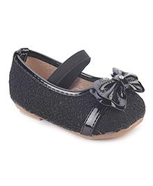 Cute Walk Belly Shoes Bow Applique - Black