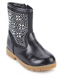 Cute Walk Ankle Length Boots Stone Work - Black