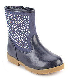 Cute Walk Ankle Length Boots Stone Work - Navy