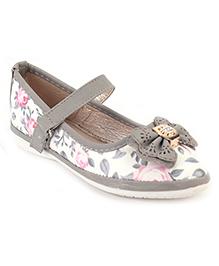 Cute Walk Belly Shoes Bow Applique - Grey
